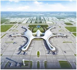 Drohne fotografiert Flughafen in China